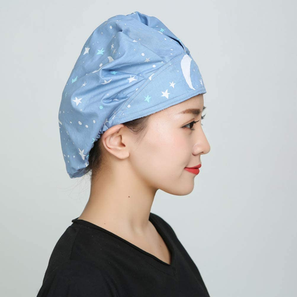 Blue PRETYZOOM Moon Star Printed Surgical Hat Cotton Scrub Cap Adjustable Medical Hat for Doctor Nurse