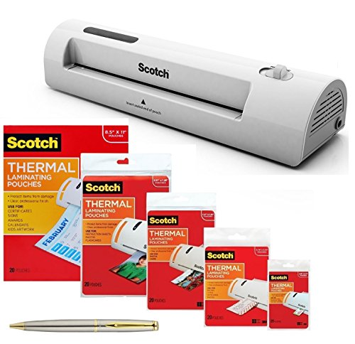 Scotch TL901C Thermal Laminator 2 Roller System Bundle with 100 Assorted Pouch Sizes and a Plexon Pen
