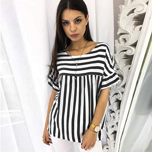 Noir Col Casual Yujeet Courtes Rayure Blouse Party Femme Tops Chemise Classique Manches Mode Rond 4ppxO5qB