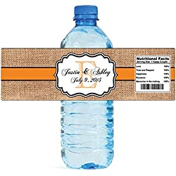 "100 Burlap Tangerine Wedding Anniversary Engagement Party Water Bottle Labels 8""x2"""