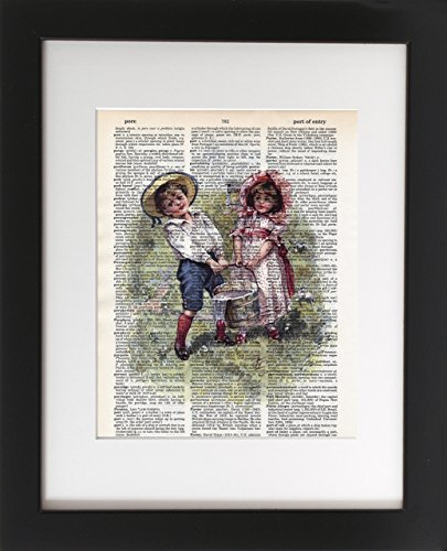 Jack and Jill – Upcycled Dictionary Art Print 8×10. – Unframed – Frame and matting are for presentation purposes only to show you how they can look.