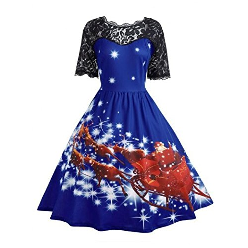 Chica Mujer Christmas Azul Navidad Ropa Dress Cuello Niñas Vestidos Fiesta Retro Encaje Lenfesh Redondo Ex7tO7w5q