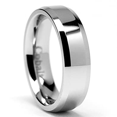 6mm high polish mens cobalt chrome ring wedding band size 6 - Cobalt Wedding Rings