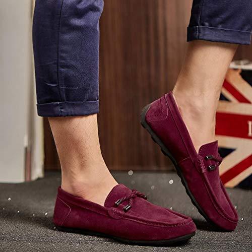Casual para Alpargatas Zapatillas Mocasines Gamuza Zapatos sólido de Plano Vino Hombres de QinMM q4XHw48nz