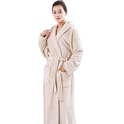 1e2f3e573b Image Unavailable. Image not available for. Color: HUIFEI Nightgown Autumn  and Winter Coral Fleece Couple Dressing Gown Thick Long Flannel Bathrobe ...