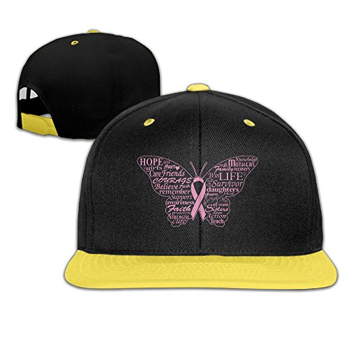 Price comparison product image Breast Cancer Pink Butterfly Kid Flat Peak Snapback Cap