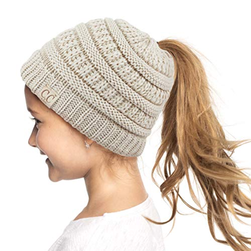Funky Chunky Knitted Accessories - C.C Children Kids Beanie Chunky Knitted Beanie Pony Tail Hat for Kid Ages 2-7 (MB-847) (MB-816) (Beige New)
