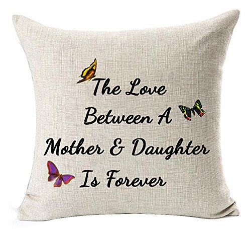 Andreannie Best Gifts for Mother The Love Between A Mother & Daughter is Forever Butterfly Cotton Linen Throw Pillow Case Cushion Cover Home Office Decorative Square 18 X 18 Inches