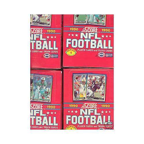 - LOT of 4 1990 Score Football Series 1 One Wax Pack Box Complete Set