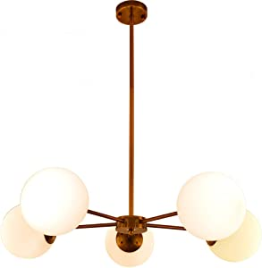 Mid Century Modern 5 Globe Hanging Pendant Light, Contemporary Beautiful Large Glass Chandelier Light Fixture for Dining Room Living Room Foyer