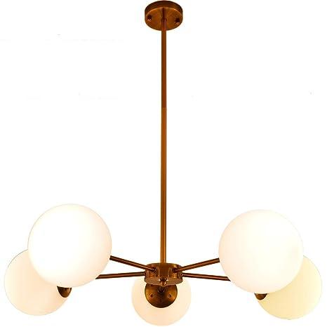 5 Light Globe Pendant Light Hanging Sputnik Chandelier Mid Century Modern Large Glass Chandelier Light Fixture For Dining Room Living Room Foyer