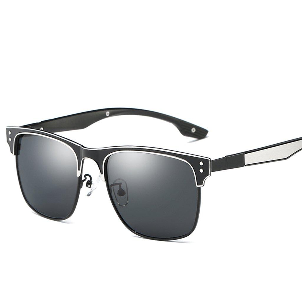 LUOMON Polarized Wayfarer Sunglasses for Men Women Metal Black Silver Frame/Grey Lens Polarized Sun Glasses LM047
