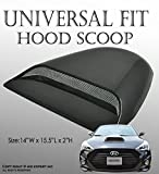 ICBEAMER Black Hood Scoop AERO DYNAMIC Speed Racer Waterproof FLOW with 3M tape No Drill Universal For Vehicle Car