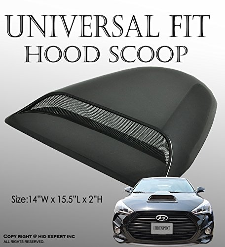 ICBEAMER Black Hood Scoop AERO Dynamic Speed Racer Waterproof Flow w/ 3M Tape No Drill Universal Fit for Auto Vehicle