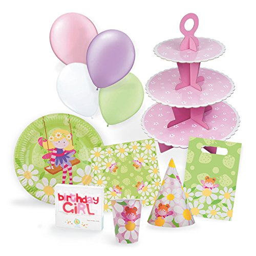 Fairy Party Supplies Set for 12 - Birthday Party Kit Includes Cups, Plates, Napkins, Balloons, Hats, Favor Bags, Candles and Cupcake Stand