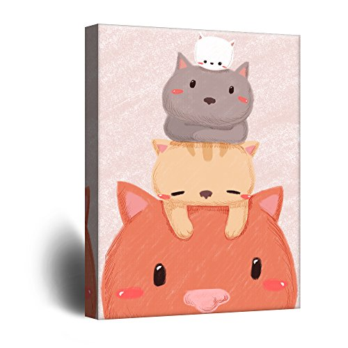 Cute Cartoon Animals Stack of Cute Kitty Cats Kid