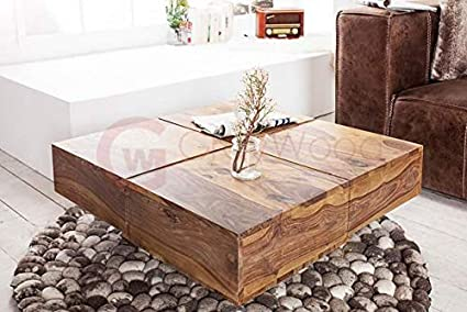 Rjkart Solid Sheesham Wood Coffee Table For Living Room Center Table Natural Brown Finish Amazon In Electronics