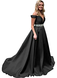 fd0ac7cc Homdor Off Shoulder Prom Dresses Long Beaded Satin Formal Evening Ball  Gowns for Women 2019