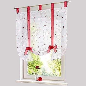 roman broderie ombre attacher fenêtre cuisine de rideau rideau de ...