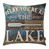 TRENDIN Throw Pillow Case Lake House Relax Cotton Linen Square Cushion Cover Standard Pillowcase for Sofa Armchair 18 x 18 inch PL253TR