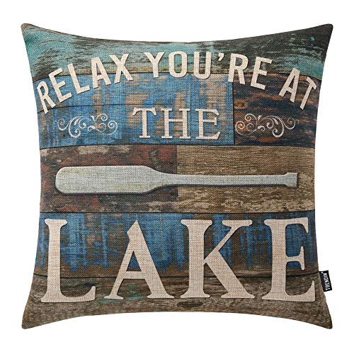 (TRENDIN Throw Pillow Case Lake House Relax Cotton Linen Square Cushion Cover Standard Pillowcase for Sofa Armchair 18 x 18 inch PL253TR)