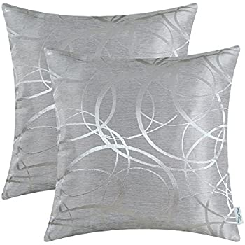 CaliTime Pack Of 2 Cushion Covers Throw Pillow Covers Cases For Couch Sofa  Home Decor, Modern Circles Rings Geometric, 18 X 18 Inches, Silver Gray