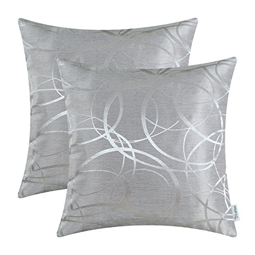 CaliTime Pack of 2 Cushion Covers Throw Pillow Cases Shells for Couch Sofa Home Decor Modern Shining & Dull Contrast Circles Rings Geometric 18 X 18 Inches Silver Gray (And Silver Purple Pillows)