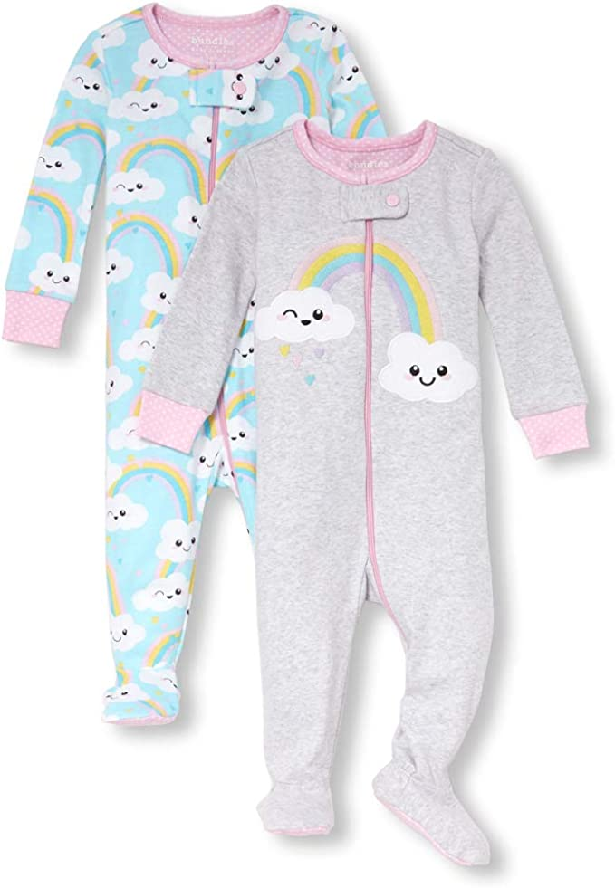5 T Multi The Childrens Place Boys Big 3 Pack Novelty Printed Long Sleeve Footed Sleepers