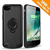 iPhone 7 Battery Case - Hathcack 5000mAh Portable Battery Charging Case for iPhone 8/7/6/6s Extended Battery Pack/Lightning Cable Input Mode Support Magnetic Car Holder (Black)