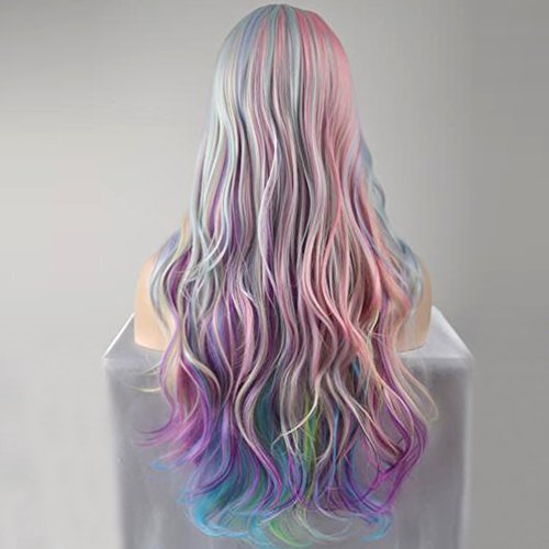 BERON Long Curly Multi-Color Charming Full Wigs for Cosplay Girls Party or Daily Use Wig Cap Included (Colorful) by BERON (Image #3)
