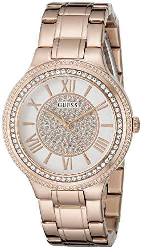 GUESS Women's U0637L3 Dressy Rose Gold-Tone Watch with White Dial , Crystal-Accented Bezel and Stainless Steel Pilot - White Guess Ladies Dial