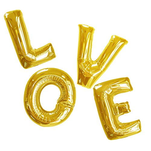 (Love Balloons Gold 40 inch Mylar Large Love Letter Balloons Set Foil Helium Wedding Engagement Valentines Proposal Balloons Baby Shower Bridal Shower Anniversary Decor of 2019 BALLOON (Love))