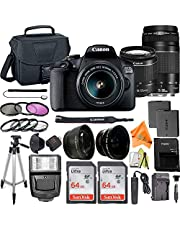 $694 » Canon EOS 2000D / Rebel T7 Digital SLR Camera 24.1MP with 18-55mm + 75-300mm Lens, ZeeTech Accessory Bundle, 2 Pack SanDisk 64GB Memory Card, Telephoto + Wideangle Lenses, Flash, Case