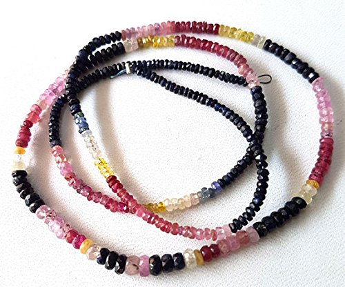 - 19 inch strand MULTI SAPPHIRE faceted Rondelles ,1 mm -- 3.5 mm