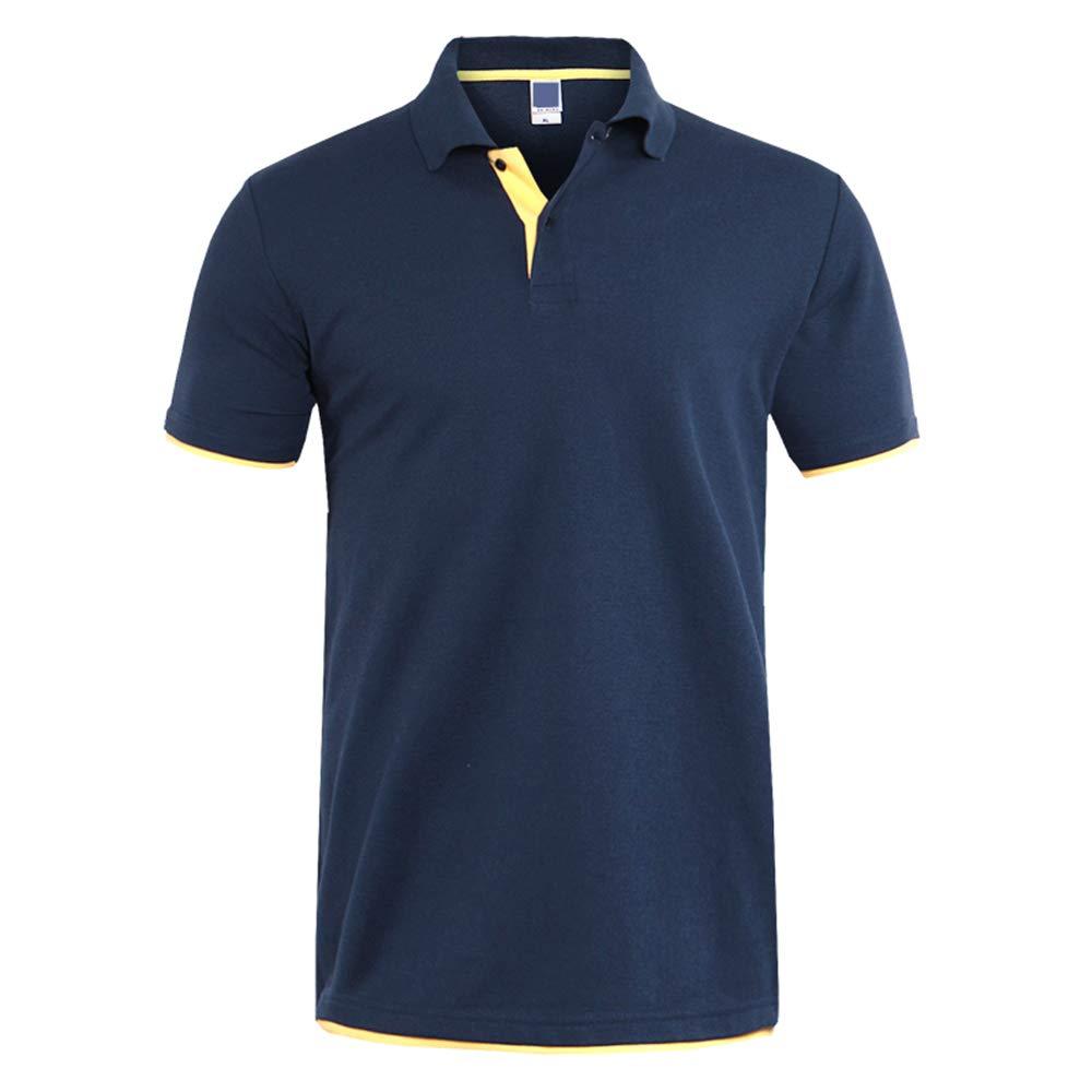GUJMin Mens Polo Shirt Fashion Short Sleeve Shirt Cotton Slim Business Casual Shirt