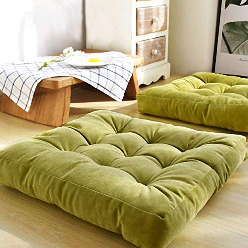 EGOBUY Solid Square Floor Pillow Tufted Thicken Chair Pad Tatami Thicken Seat Cushion, 22x22 inch, Green - Green Square Cushion Pillow