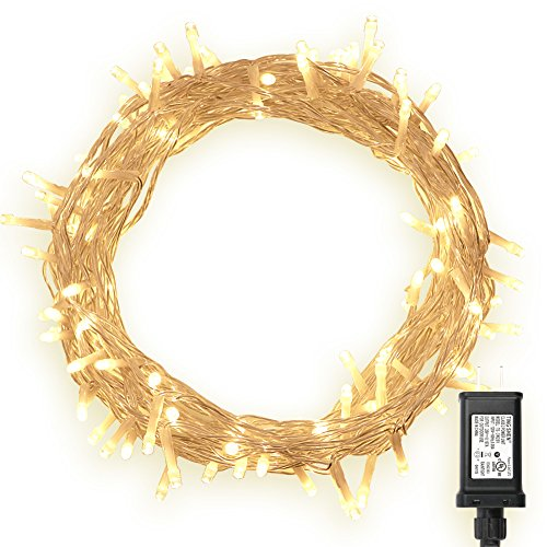 100-LED-Indoor-Fairy-Lights-w-Remote-Timer-on-36ft-Clear-String-8-Modes-Dimmable-Low-Voltage-Plug-Warm-White