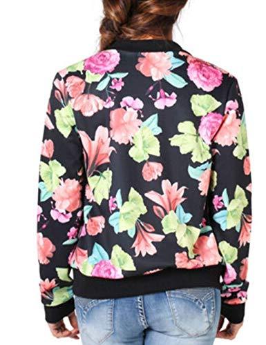 Relaxed Casuale Battercake Eleganti Casual Pat Lunghe Giacca Autunno Outerwear Maniche Fiore Fashion Con Bomber Donna Giacche Cerniera Modello Donne Cappotto Twyxrq1ATf