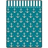 Shower Curtain 66 X 72 Inch Anchor Pattern Art Arranged Cyan Printing Polyester Fabric