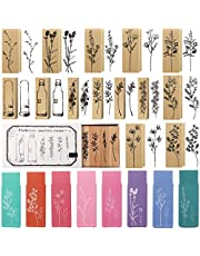 15 Pieces Wooden Rubber Stamp Vintage Wooden Stamps Plant and Flower Decorative Vintage Mounted Rubber Stamp Set for DIY Craft, Card Making, Letters Diary, Craft