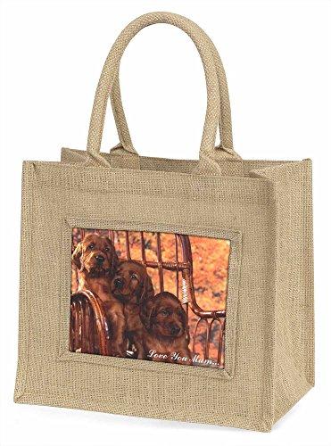 Advanta Irish Red Setter Welpen Love You Mum Große Einkaufstasche/Weihnachtsgeschenk, Jute, beige/natur, 42x 34,5x 2cm