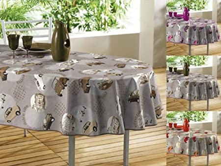 Gentil Natural Oilcloth PVC Wipe Clean Tablecloth 140cm X 240cm 55u0026quot;x94u0026quot;  Oval