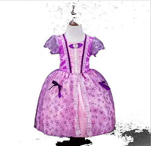Princess Dresses Rapunzel Aurora Kids Party Halloween Costume Clothes,Light Purple,Line -