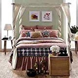 Independence Stars & Stripes 6pc Queen Quilt Patchwork Quilt-2 Star Shams-Bed Skirt-Star Toss Pillow-''Blessed is the Nation'' Toss Pillow -Red White & Blue FIRECRACKER SALE!