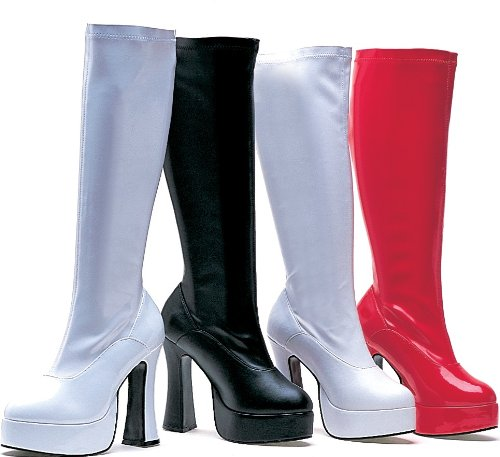 Ellie Shoes Women's 5 Inch Heel Stretch Knee Boots. with Inner Zipper (White PU;7)
