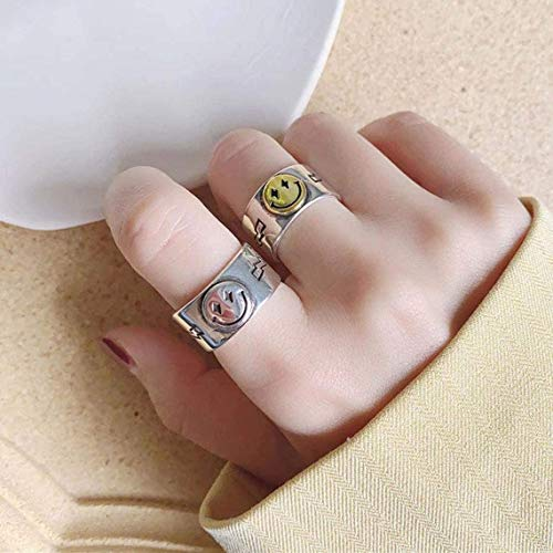 H.D.S.N. Smiling Face Rings Vintage Bands Smiley Ring Wide Chunky Jewelry for Women Men (Silver)