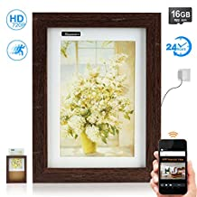 TOUGHSTY 16GB 1280x720P HD Picture Frame Home Hidden Spy Camera Wireless Remote Access for iPhone Android 24 hour Recording (WOOD)