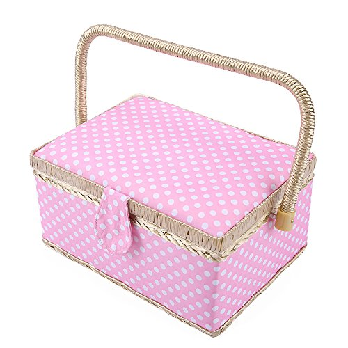 Kit Ltd Classic (SAXTX Classic Polka Dot Medium Sewing Basket with Tray - Include 31 Pcs Sewing Kit Accessories | Pink Wooden Storage Organizer Sewing Boxes for Girls | 9.6