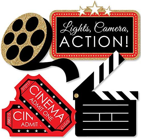BIG DOT OF HAPPINESS RED CARPET HOLLYWOOD – CLAPBOARD, MOVIE TICKETS AND FILM REEL DECORATIONS DIY MOVIE NIGHT PARTY ESSENTIALS – SET OF 20