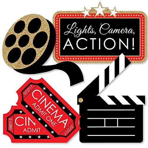 Red Carpet Hollywood - Clapboard, Movie Tickets and Film Reel Decorations DIY Movie Night Party Essentials - Set of 20 (Reel Film Decoration)